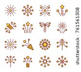 firework line icon. petard ... | Shutterstock .eps vector #761561308