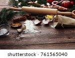 baking ingredients for homemade ...   Shutterstock . vector #761565040