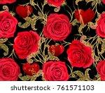 seamless pattern. golden... | Shutterstock . vector #761571103