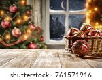 desk of free space and x mas... | Shutterstock . vector #761571916