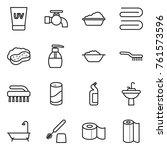 thin line icon set   uv cream ... | Shutterstock .eps vector #761573596