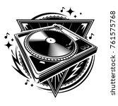 black and white turntable music ... | Shutterstock .eps vector #761575768