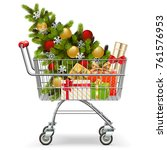 vector supermarket cart with... | Shutterstock .eps vector #761576953