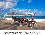 cozumel island horse carriage... | Shutterstock . vector #761577193