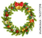vector fir wreath with red... | Shutterstock .eps vector #761577298