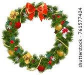 vector christmas wreath with...   Shutterstock .eps vector #761577424
