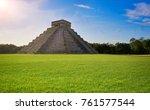 chichen itza pyramid el templo... | Shutterstock . vector #761577544