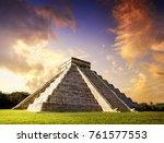 chichen itza pyramid el templo... | Shutterstock . vector #761577553