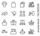 thin line icon set   parachute  ... | Shutterstock .eps vector #761585530