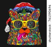 ornament face of dog in line... | Shutterstock .eps vector #761590696