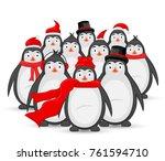 Many Polar Penguins In Winter...