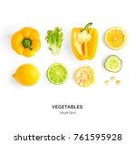 creative layout made of yellow... | Shutterstock . vector #761595928