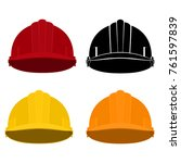 set of safety helmets   colored ... | Shutterstock .eps vector #761597839