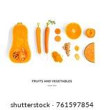 creative layout made of pumpkin ... | Shutterstock . vector #761597854