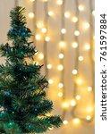 gold christmas background of de ... | Shutterstock . vector #761597884