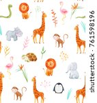 Stock photo watercolor pattern with cute animals pattern baby wallpapers african wallpaper giraffe hippo 761598196
