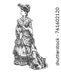 antique dressed lady. old... | Shutterstock .eps vector #761602120