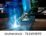 automatic robot welder at the... | Shutterstock . vector #761604850