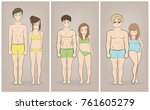 male and female body types ... | Shutterstock .eps vector #761605279