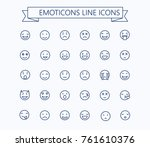 smiley emoticons line vector... | Shutterstock .eps vector #761610376