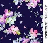 spring flowers seamless pattern.... | Shutterstock .eps vector #761610949