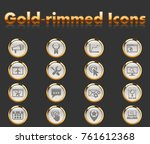 seo gold rimmed icons for your... | Shutterstock .eps vector #761612368