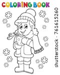 coloring book girl in winter... | Shutterstock .eps vector #761615260