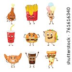 cartoon funny food characters... | Shutterstock .eps vector #761616340