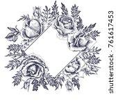 vintage vector floral frame in... | Shutterstock .eps vector #761617453