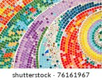 Colorful pattern of mosaic at thai temple - stock photo