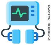 defibrillator machine flat icon.... | Shutterstock .eps vector #761620906