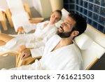 couple enjoying wellness spa... | Shutterstock . vector #761621503