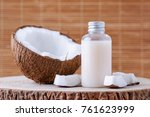 cosmetic bottle and fresh... | Shutterstock . vector #761623999