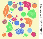 autumn theme  leaves  scribbles ... | Shutterstock .eps vector #761625289