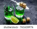 absinthe in glass with lime... | Shutterstock . vector #761628976