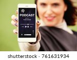 woman showing mobile phone with ... | Shutterstock . vector #761631934
