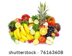 fresh fruits and vegetables... | Shutterstock . vector #76163608