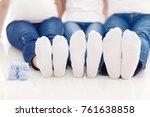 couple feet in socks  baby... | Shutterstock . vector #761638858