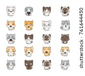 cute cartoon cats and dogs with ... | Shutterstock . vector #761644450