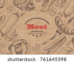 horizontal background with meat ... | Shutterstock .eps vector #761645398