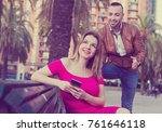 girl is rejecting stranger man... | Shutterstock . vector #761646118