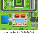 of the city top view. swimming... | Shutterstock .eps vector #761646649
