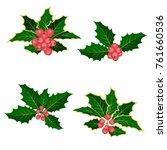 christmas symbol holly. branch... | Shutterstock .eps vector #761660536