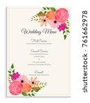 elegant wedding menu card... | Shutterstock .eps vector #761662978