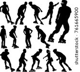 rollerblade silhouettes... | Shutterstock .eps vector #761665900