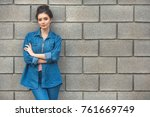 fashion woman in denim standing ... | Shutterstock . vector #761669749