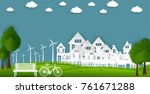 eco green city. environment... | Shutterstock .eps vector #761671288