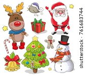 set of cute christmas design... | Shutterstock .eps vector #761683744