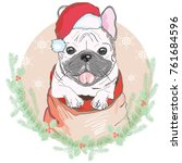 portrait of cute french bulldog ... | Shutterstock .eps vector #761684596