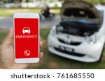 young man has broken down car... | Shutterstock . vector #761685550